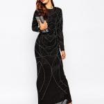 robe asos longue noire motif annee 20 maxi longueur