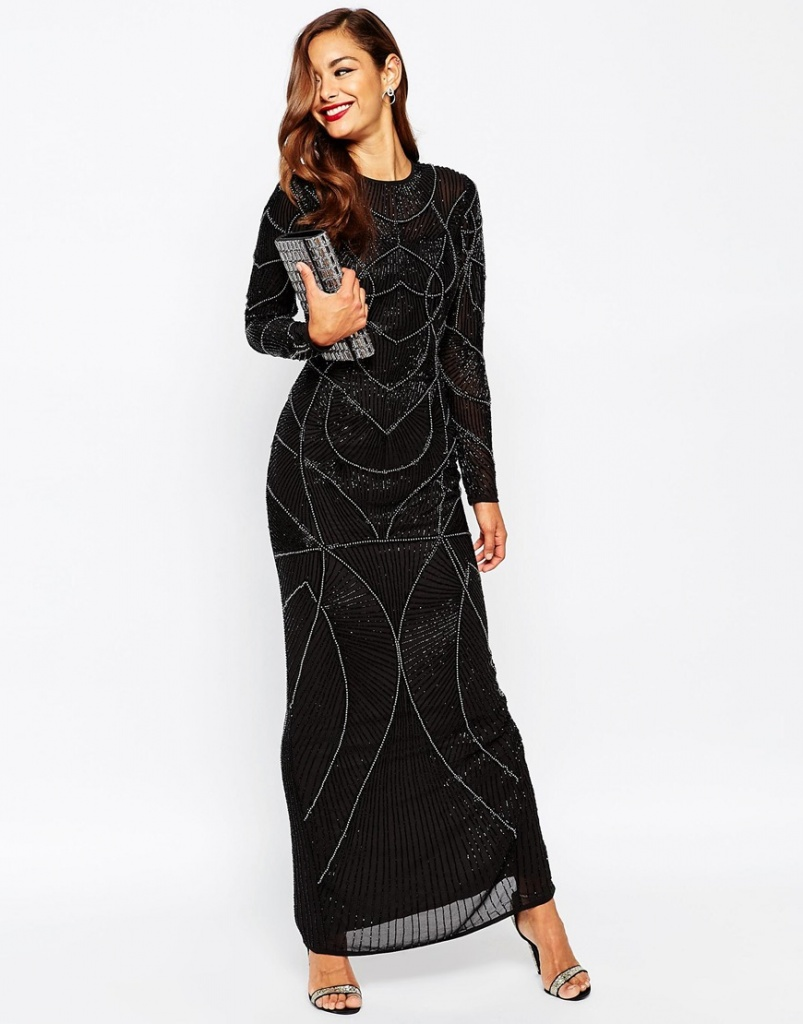 innovative design big sale online store robe asos longue noire motif annee 20 maxi longueur - la ...