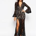 robe dentelle noire longue love avec decollete plongeant