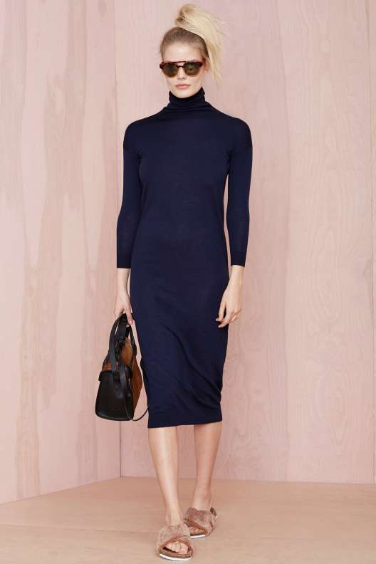 robe hiver col montant bleu marine mi longue