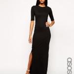 robe hiver longue noire manche courte et fendue cote