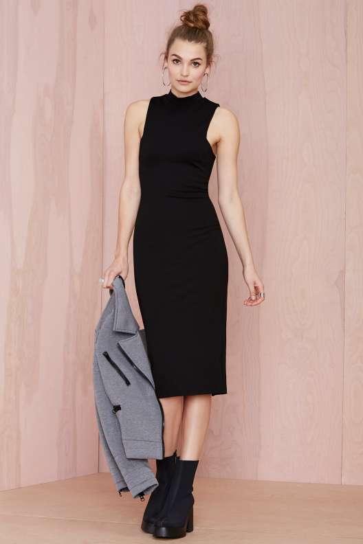 robe hiver mi longue noire sans manche