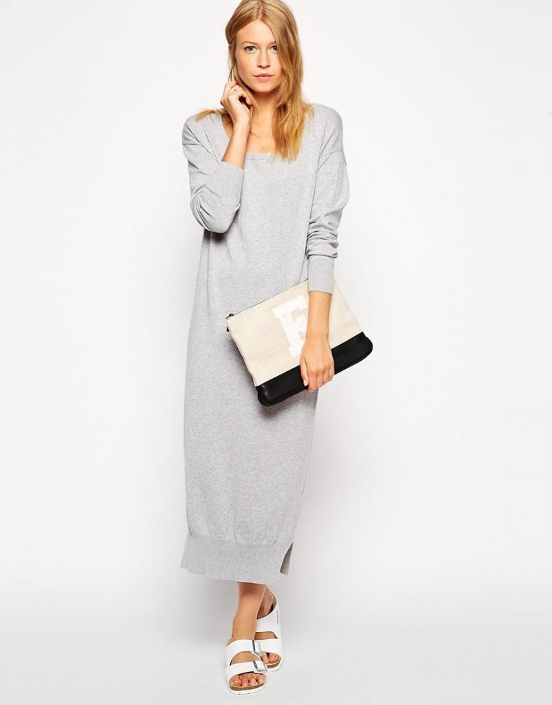 robe laine hiver longue gris clair