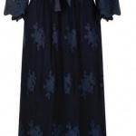 robe longue bleu marine naf naf dentelle et transparence