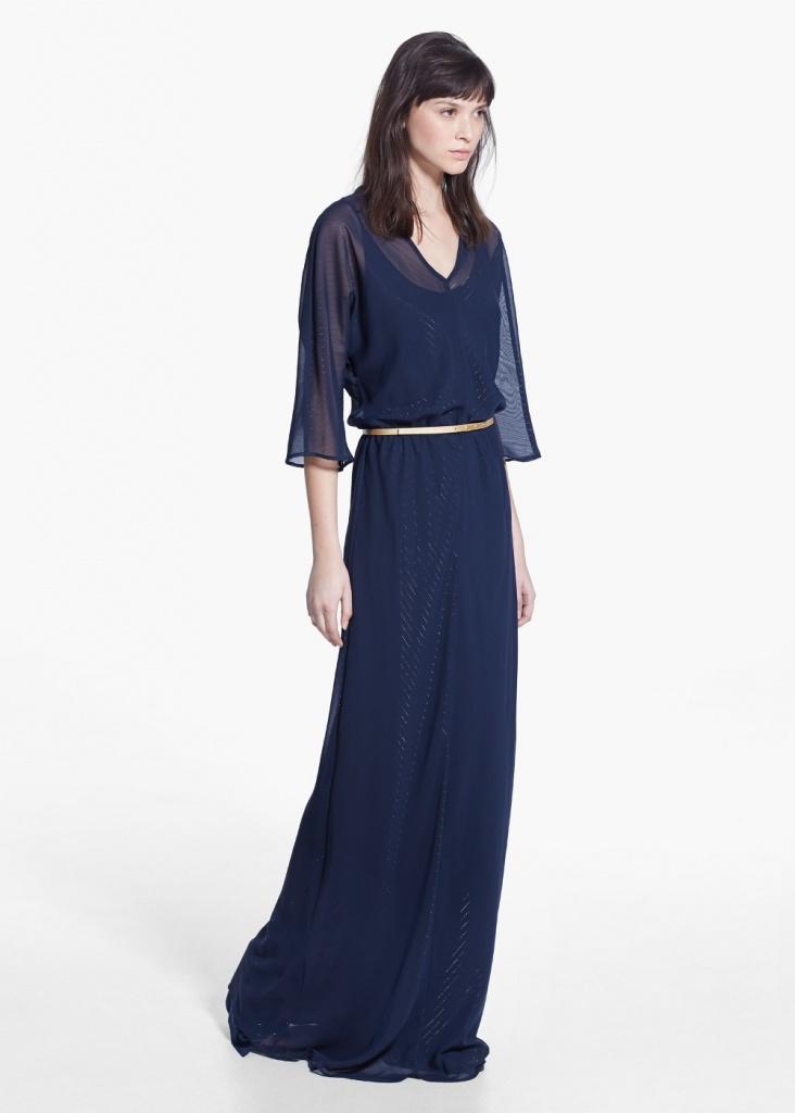 robe longue fluide a manche mi longue ceinture metal bleu et voile