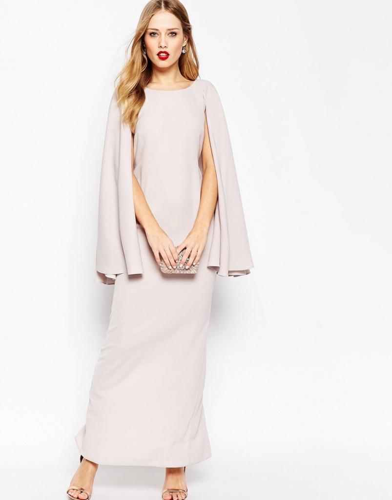 robe longue gris poudre avec cape pour mariage ou grande occasion