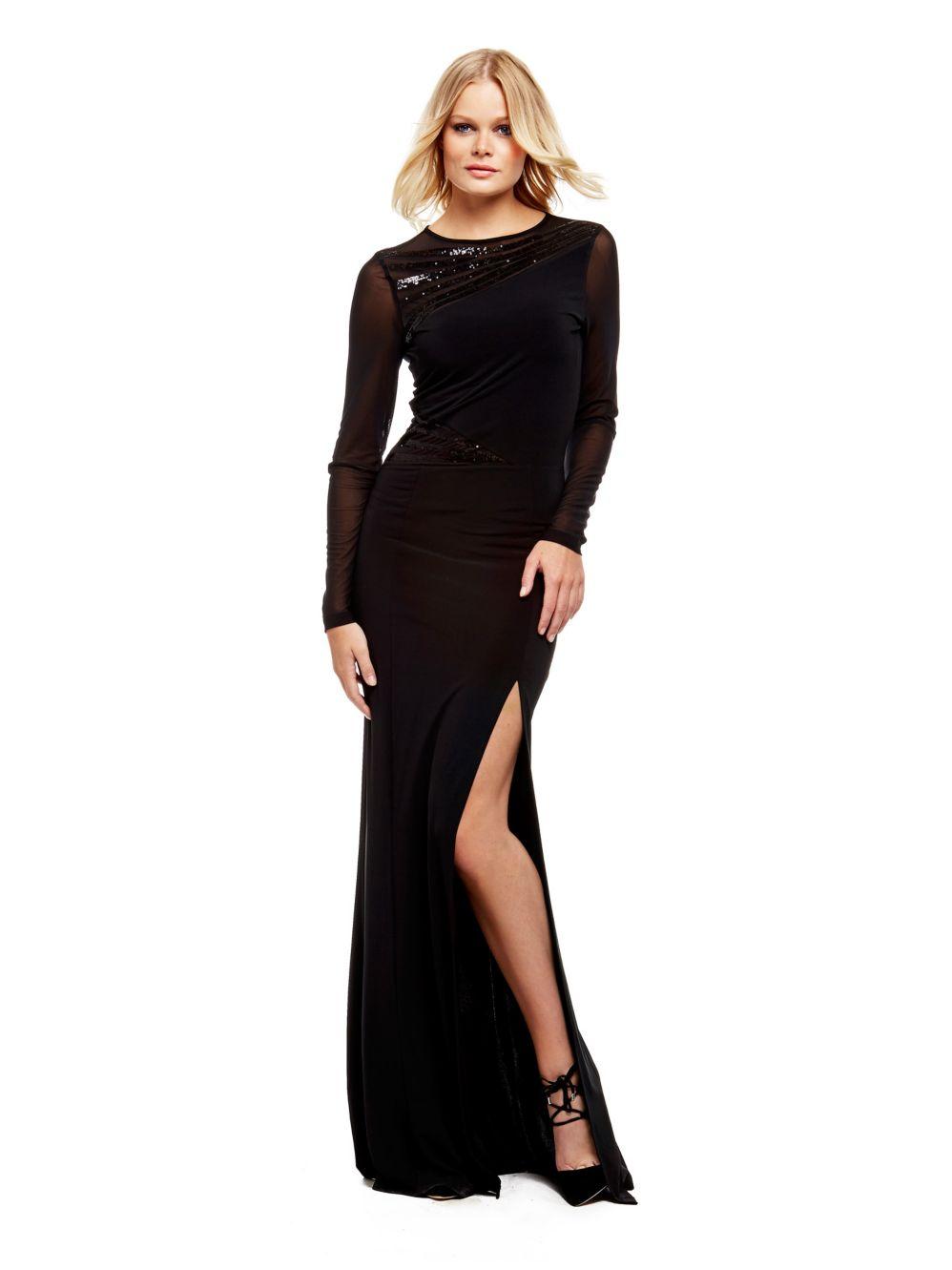 nouveaux prix plus bas livraison rapide styles classiques robe longue guess noire marciano voile transparence et ...
