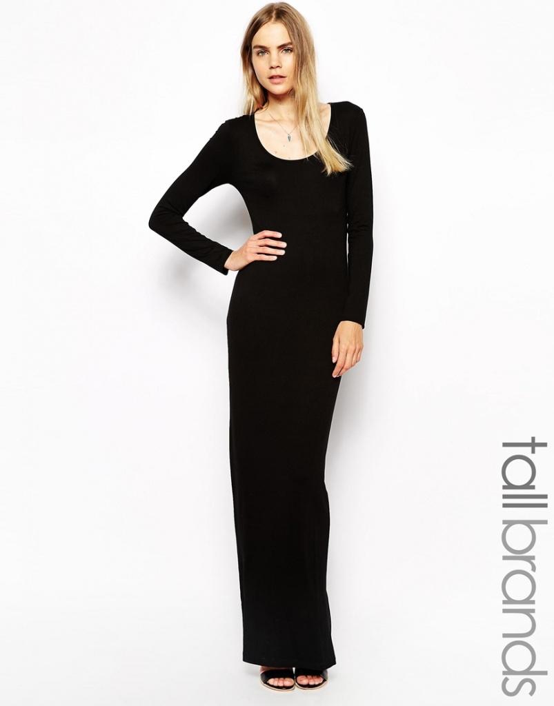 072c42749862 robe longue hiver manches longues noire basique pres du corp - la ...