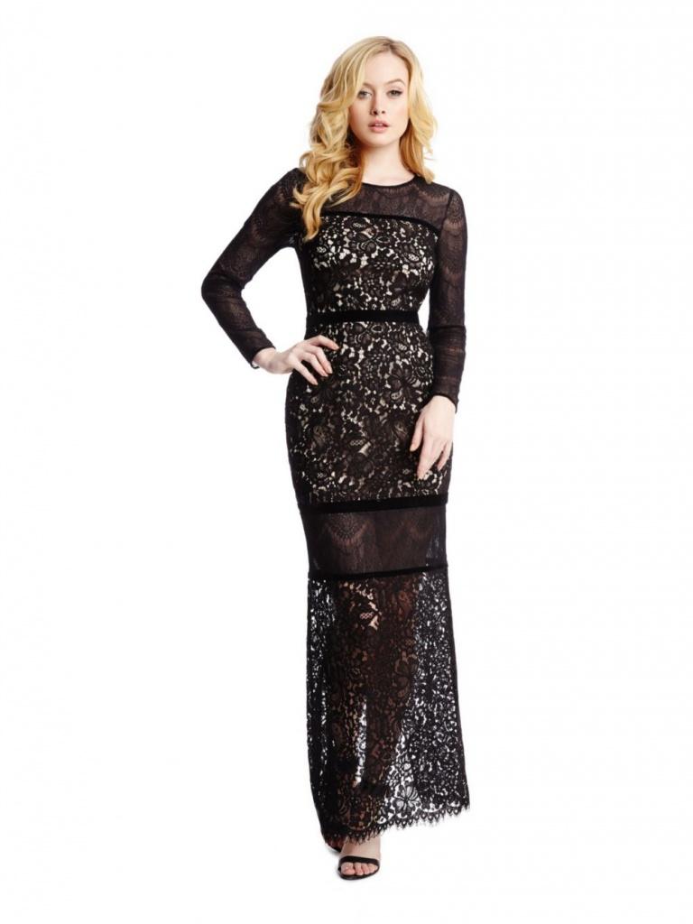 3e9403c5261ba robe longue hiver marciano guess dentelle noire - la robe longue