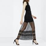 robe longue maje noire transparence avec broderie anglaise sans manche
