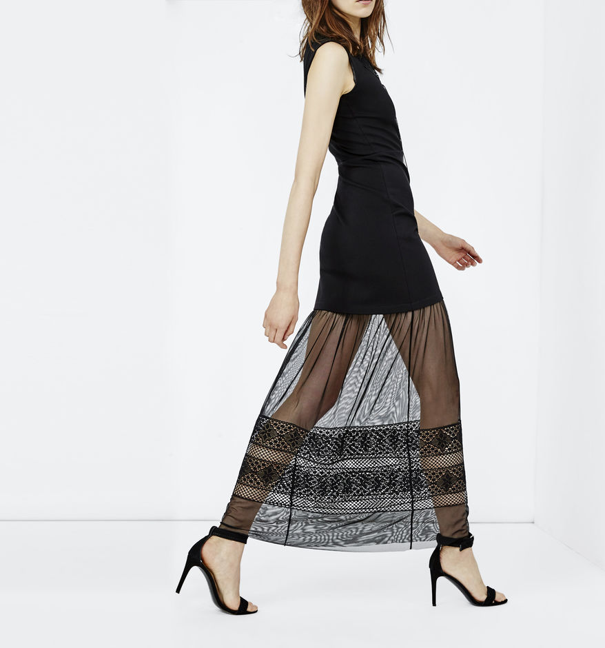 robe longue maje noire transparence avec broderie anglaise