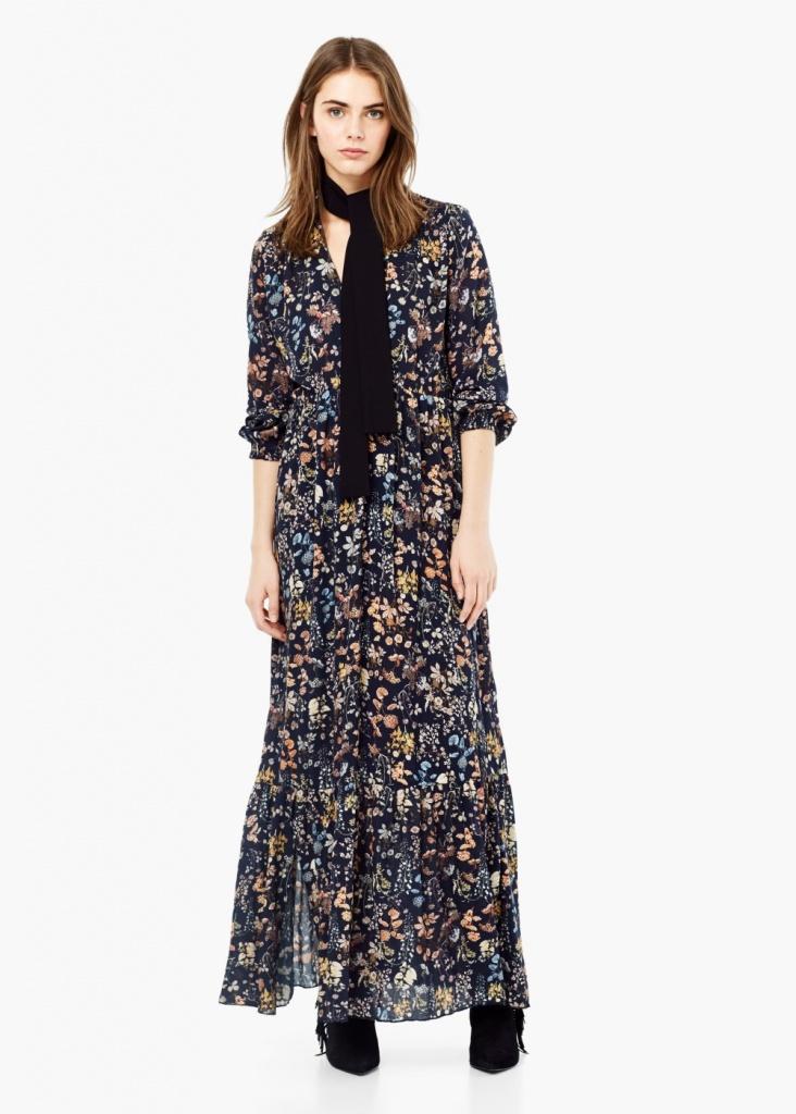 robe longue mango florale bleu fonce