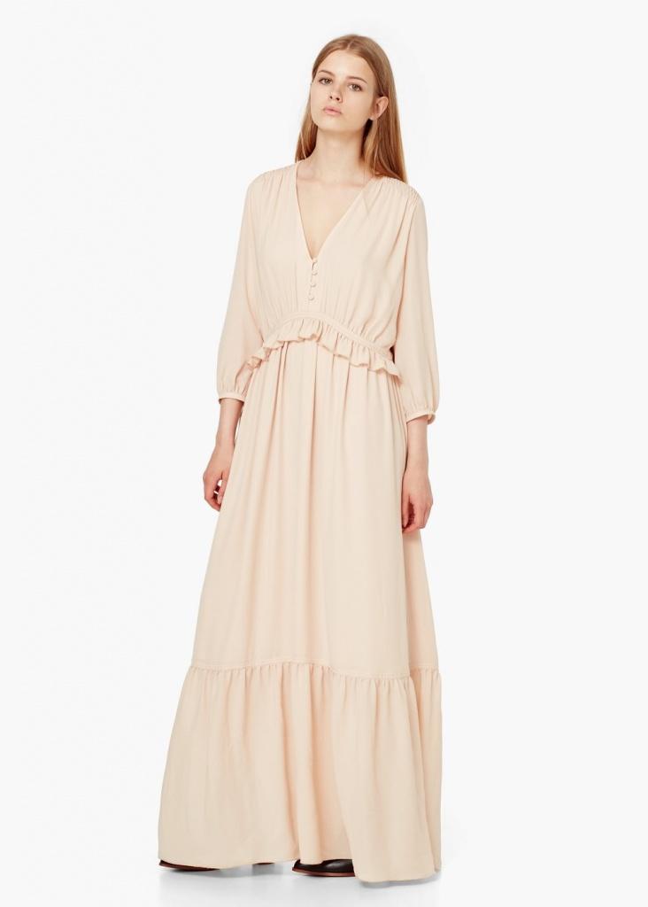 robe longue mango fluide rose pale avec decoupe ceinture volantee