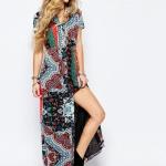 robe longue motif boheme manche courte colore glamourous