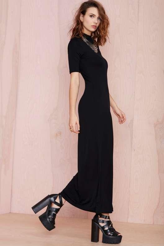 robe longue noire hiver 2015 manches courtes moulante