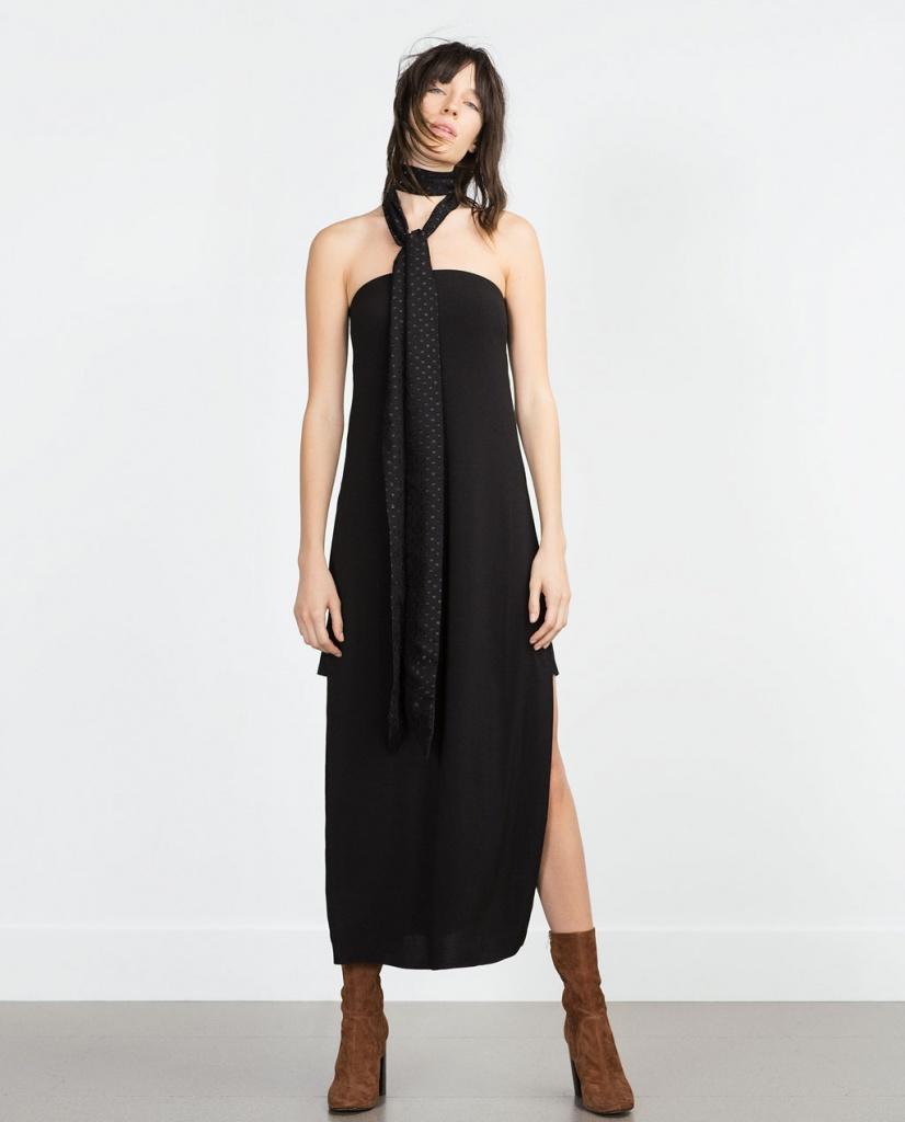 robe longue zara bustier noire fendue avec longue cravate
