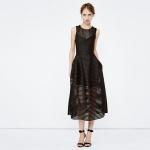 robe maje longue sans manche maille originale et transparence noire
