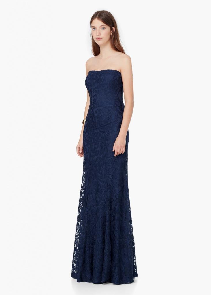 robe maxi longue bustier mango bleu nuit dentelle guipure