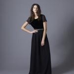 robe maxi longue noire hiver a manche courte jeux de transparence