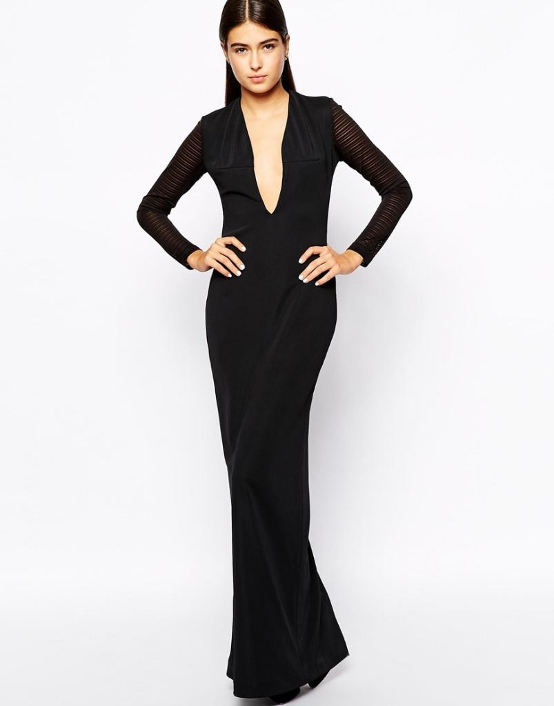 robe noire longue hiver decollete