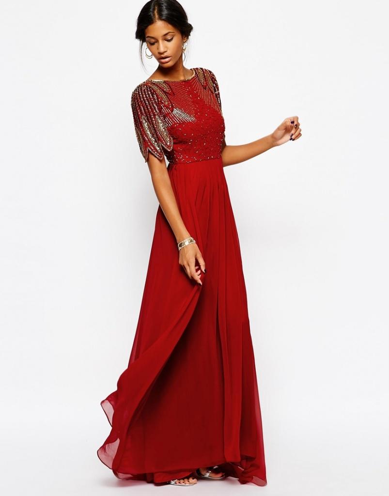 robe rouge longue habille et fluide