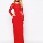 robe rouge longue hiver habillee pour soiree ou cocktail manches en dentelle