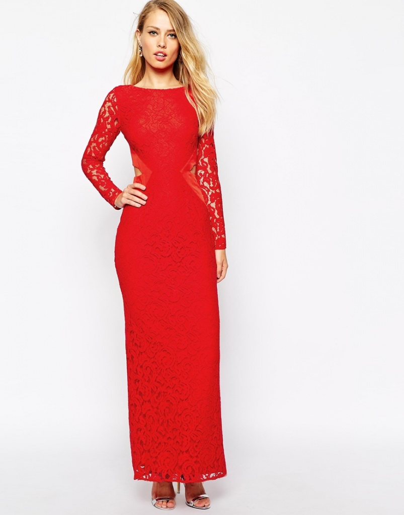 b03e0148997 robe rouge longue hiver habillee pour soiree ou cocktail manches en dentelle