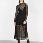robe zara noire longue esprit crochet floral et transparence