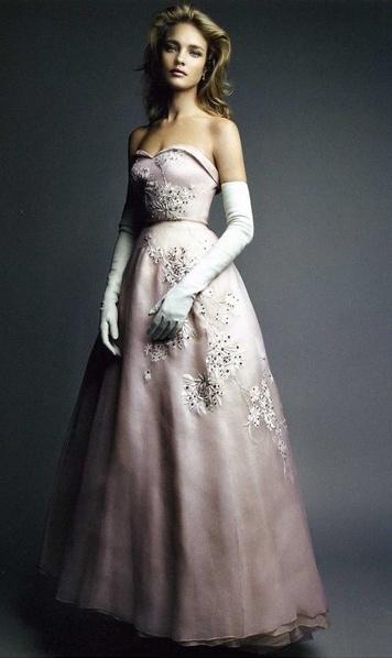 belle robe longue bustier de mariee couleur rose champagne