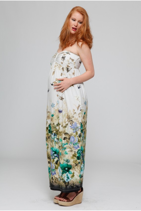 belle robe longue bustier grossesse avec joli imprime estival