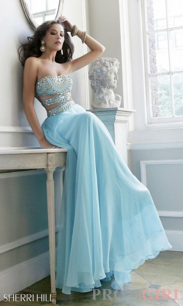 belle robe longue bustier sexy bleu ajoure