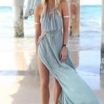 belle robe longue voile coton fendue bleu tres fluide