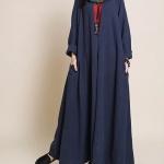 grande robe longue coton femme extra fluide bleu marine