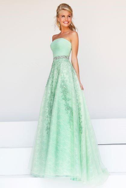 jolie robe longue vert pale bustier ceinture argent