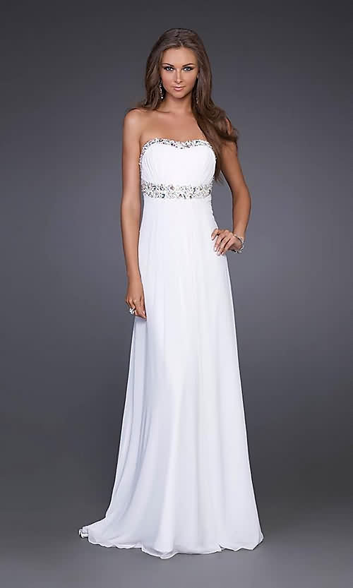 robe blanche bustier longue pour bal de promotion