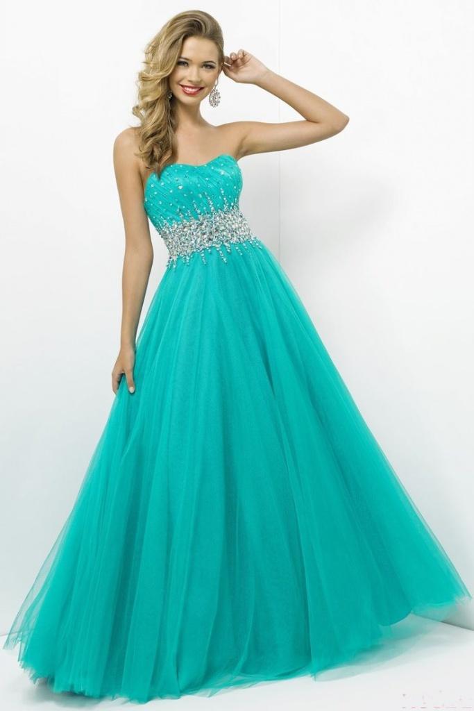 robe bleu aqua longue bustier toute en volume avec ceinture paillettee