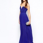robe bleu electrique longue bustier asos