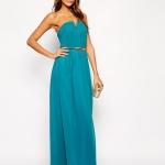 robe bleu longue bustier coeur ceinture argent