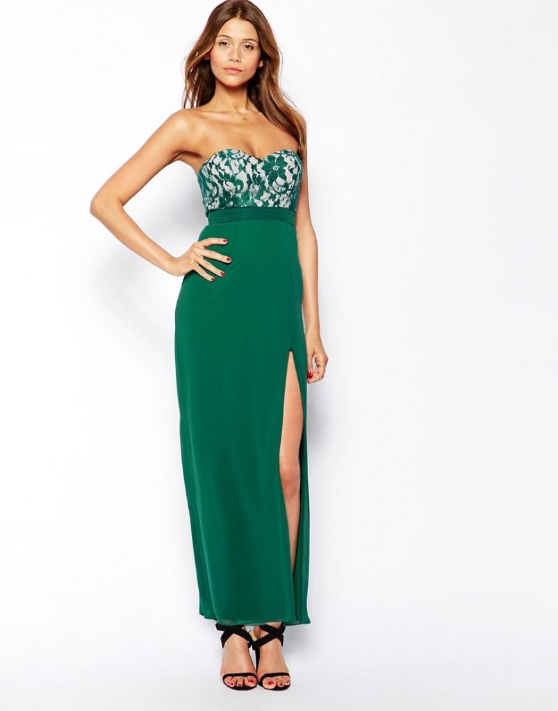 robe bustier blanc et vert longue tres fendue sur le devant de la cuisse