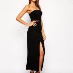 robe bustier longue fendue et voile a la taille