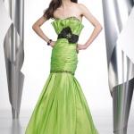 robe bustier longue vert pomme avec large noeud originale