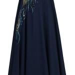 robe bustier maxi longue originale avec plumes de paon
