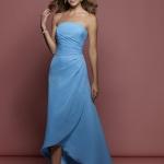 robe bustier mi longue asymetrique bleu clair
