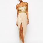 robe bustier or longue orientale avec jupe beige fendu haut