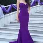 robe bustier violette tres longue et moulante pour cocktail