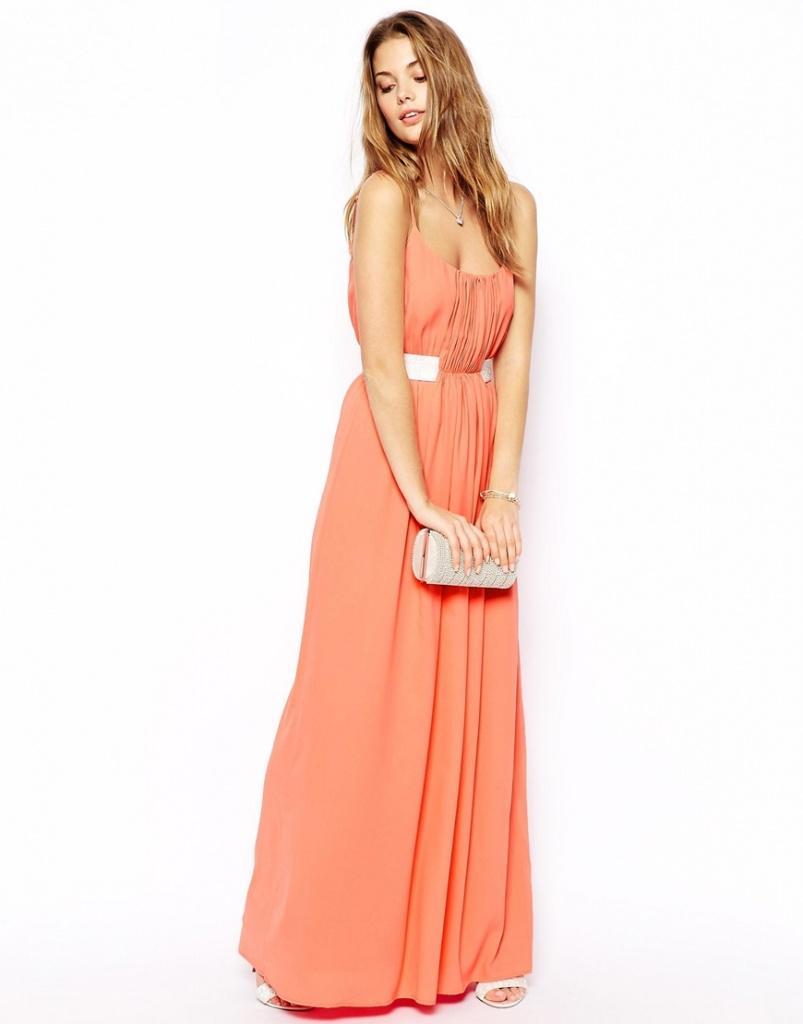 robe corail longue bustier demoiselle dhonneur - la robe longue f4aa52863dac