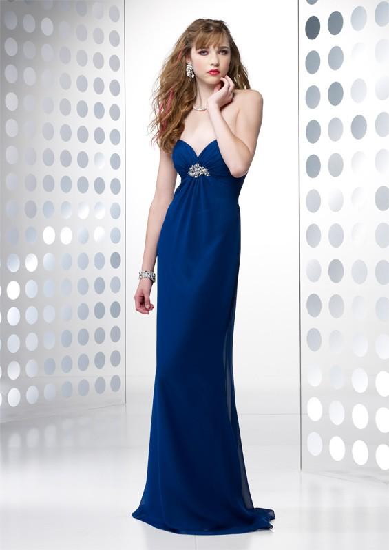 robe de soiree bustier longue avec strass sous poitrine bleu nuit