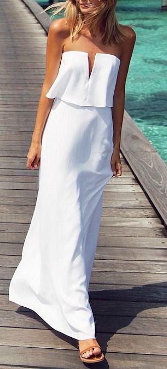 robe ete blanche longue bustier decollete