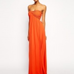 robe ete longue bustier orange