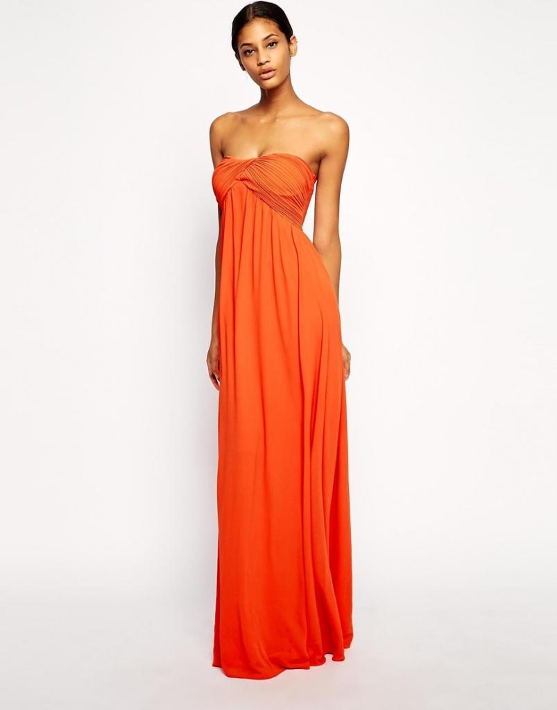 robe ete longue bustier orange